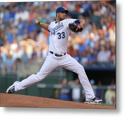 American League Baseball Metal Print featuring the photograph James Shields by Ed Zurga