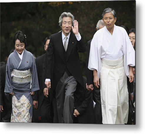 Japanese Prime Minister Metal Print featuring the photograph Japanese Prime Minister Junichiro Koizumi Visits The Ise Shrine by Koichi Kamoshida