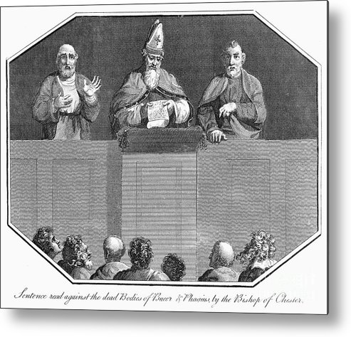 1557 Metal Print featuring the drawing John Foxe's 'The Book of Martyrs' by Granger