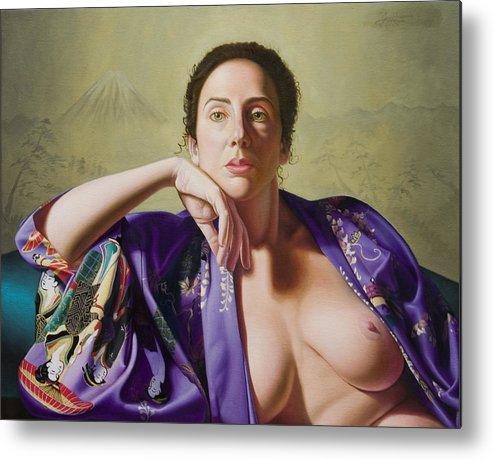 Purple Silk Kimono Metal Print featuring the painting Kimono by Gary Hernandez
