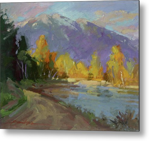 Autumn Paintings Metal Print featuring the painting Late Autumn Sun by Betty Jean Billups