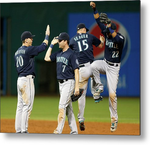 People Metal Print featuring the photograph Logan Morrison, Seth Smith, and Kyle Seager by Kirk Irwin