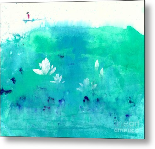 A Traveler Floating A Raft On A Lotus Pond. This Is A Contemporary Chinese Ink And Watercolor On Rice Paper Painting. Metal Print featuring the painting Lotus Pond by Mui-Joo Wee