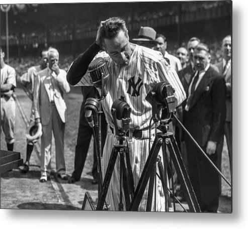 American League Baseball Metal Print featuring the photograph Lou Gehrig by The Stanley Weston Archive