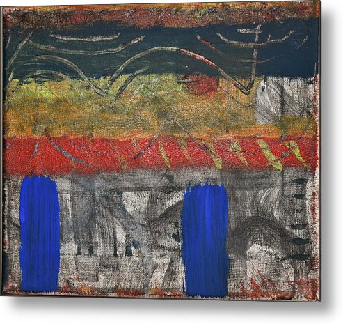 Abstract Metal Print featuring the painting Marking 01 by Pam Roth O'Mara