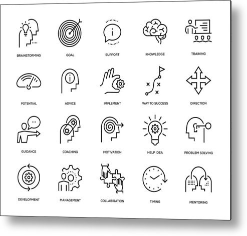 Expertise Metal Print featuring the drawing Mentoring Icon Set by Enis Aksoy