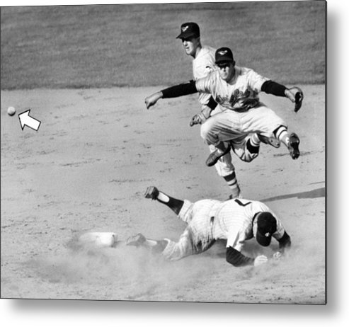 American League Baseball Metal Print featuring the photograph Mickey Mantle and Yogi Berra by New York Daily News Archive
