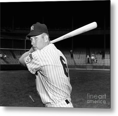 American League Baseball Metal Print featuring the photograph Mickey Mantle by Kidwiler Collection