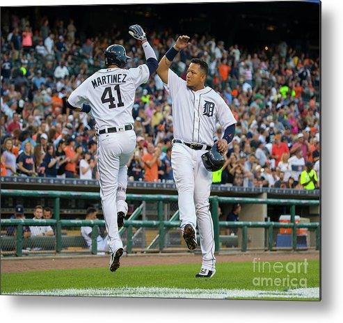 People Metal Print featuring the photograph Miguel Cabrera and Victor Martinez by Dave Reginek