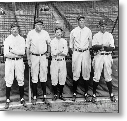 American League Baseball Metal Print featuring the photograph Miller Huggins and Babe Ruth by National Baseball Hall Of Fame Library