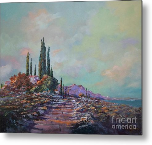 Seascape Metal Print featuring the painting Morning Mist by Sinisa Saratlic