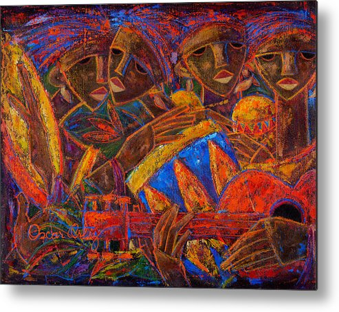 Puerto Rico Metal Print featuring the painting Musas Del Caribe by Oscar Ortiz