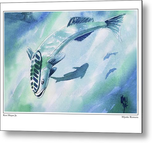 Magic The Gathering Metal Print featuring the painting Mystic Remora by Ken Meyer jr
