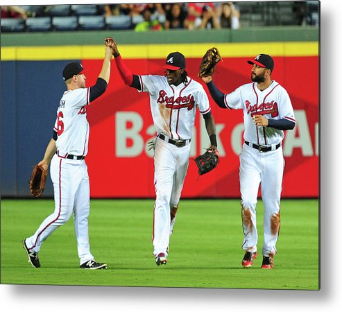 Atlanta Metal Print featuring the photograph Nick Markakis and Cameron Maybin by Scott Cunningham