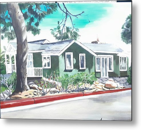 Landscape Metal Print featuring the painting Ocean Front House by Andrew Johnson