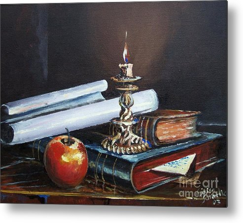 Original Painting Metal Print featuring the painting Old Books by Sinisa Saratlic