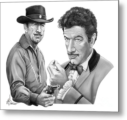 Pencil Metal Print featuring the drawing Paladin-Have Gun Will Travel by Murphy Elliott