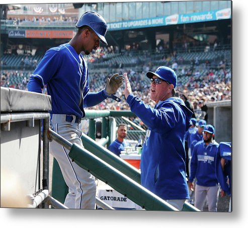 Ninth Inning Metal Print featuring the photograph Pedro Ciriaco and Ned Yost by Gregory Shamus