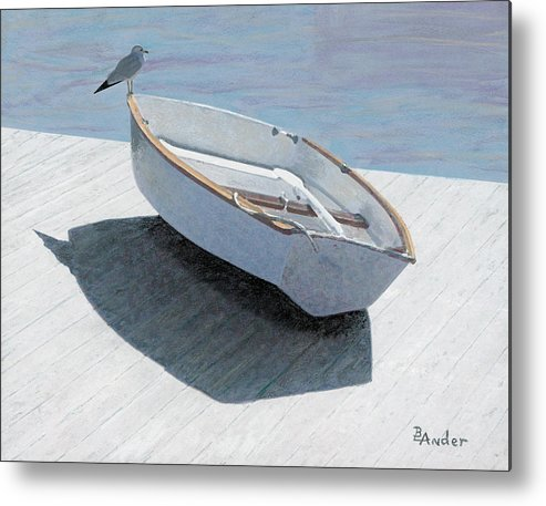 Seagull Metal Print featuring the drawing Perch by Brent Ander