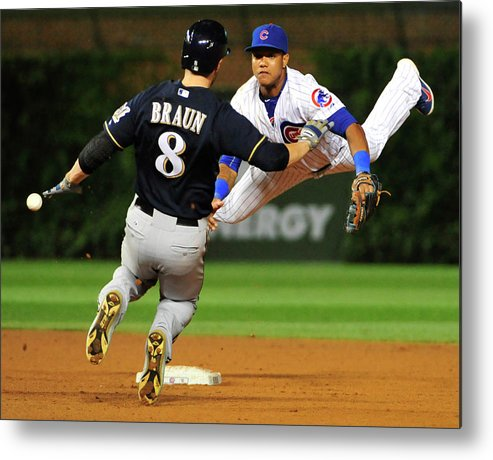 Ninth Inning Metal Print featuring the photograph Ryan Braun and Starlin Castro by David Banks