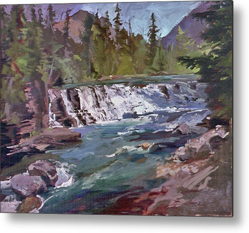 Glacier Nat'l Park Sacred Dancing Water Falls Metal Print featuring the painting Sacred Dancing Glacier by Betty Jean Billups