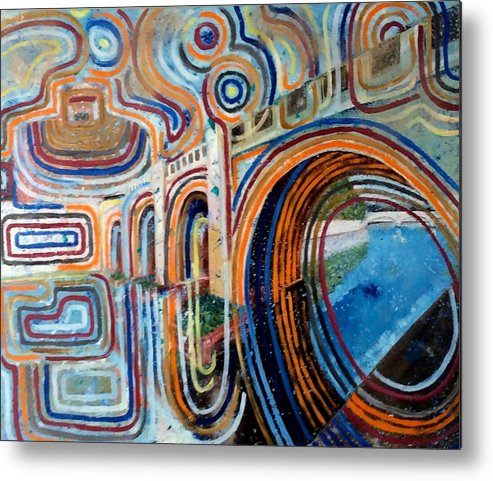 Abstract Construction Of Bridge Metal Print featuring the painting SanGandolfo by Biagio Civale