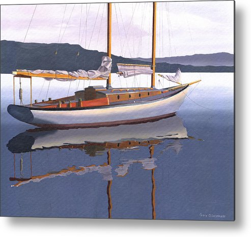 Schooner Metal Print featuring the painting Schooner at dusk by Gary Giacomelli
