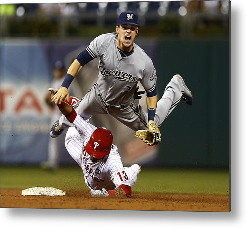 Double Play Metal Print featuring the photograph Scooter Gennett and Freddy Galvis by Rich Schultz