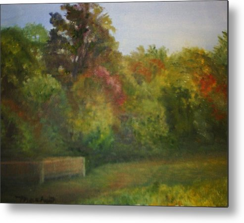September Metal Print featuring the painting September in Smithville Park by Sheila Mashaw
