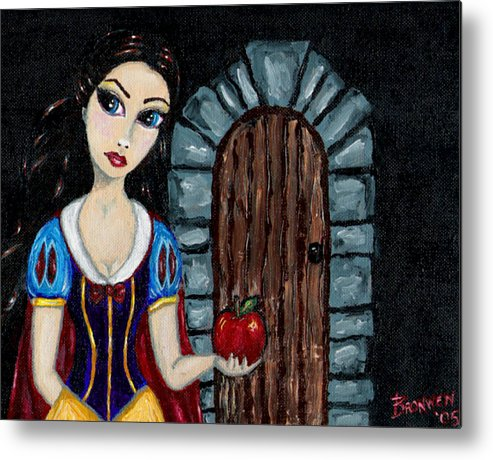 Fairy Tale Metal Print featuring the painting Snow White Considers The Apple by Bronwen Skye