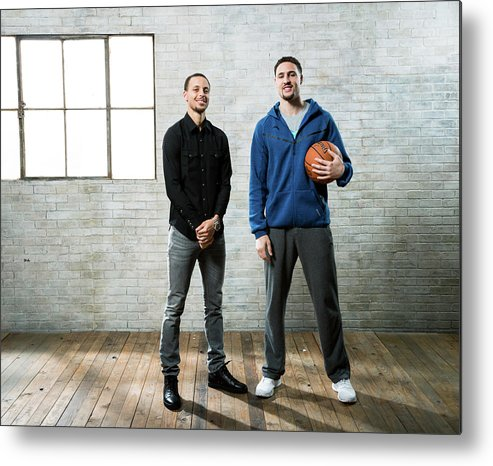 Nba Pro Basketball Metal Print featuring the photograph Stephen Curry and Klay Thompson by Nathaniel S. Butler