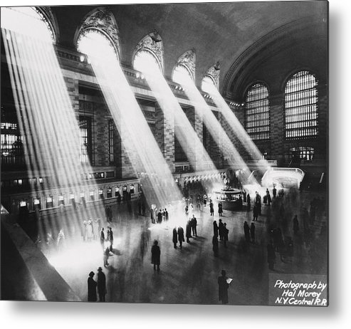 Architectural Feature Metal Print featuring the photograph Sun Beams Into Grand Central Station by Hal Morey
