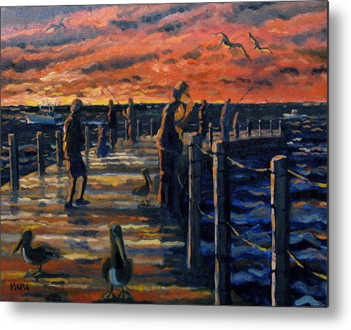 Sunrise Metal Print featuring the painting Sunrise At The Inlet by Ralph Papa