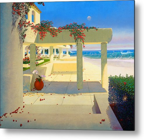 Patio By The Shore Metal Print featuring the painting Telos Mu Mural From The Accelerated Evolution Series by Loren Adams