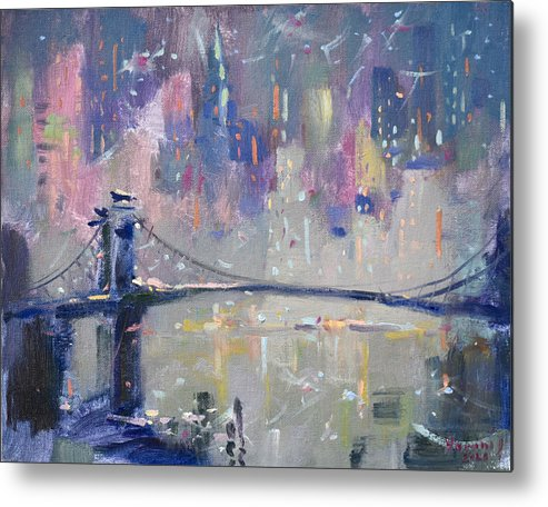 Ny City Metal Print featuring the painting The City That Never Sleeps 2 by Ylli Haruni