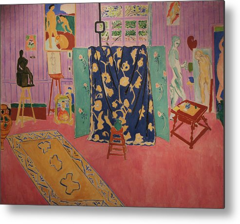 Henri Matisse Metal Print featuring the painting The Pink Studio by Henri Matisse