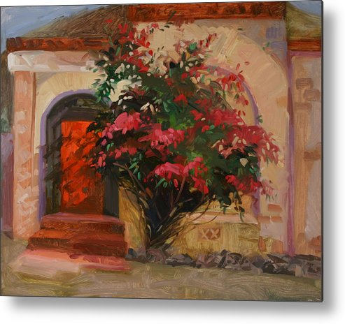 Catalina Island Ca Metal Print featuring the painting The Red Door - Catalina Island by Betty Jean Billups