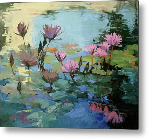 Floral Metal Print featuring the painting Times Between - water Lilies by Betty Jean Billups