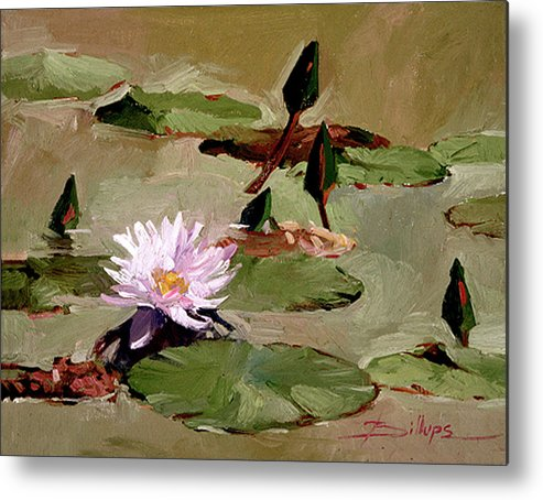 Water Lily Paintings Metal Print featuring the painting Tomorrow's Blooms- Water Lilies by Betty Jean Billups
