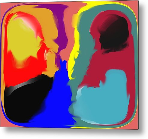 Abstract Metal Print featuring the digital art Two Peas in a Pod by Pharris Art