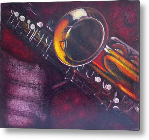 Oil Painting On Canvas Metal Print featuring the painting Unprotected Sax by Sean Connolly