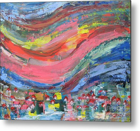 Abstract Landscape Metal Print featuring the painting Village Nestled in the Mountain - SOLD by Judith Espinoza