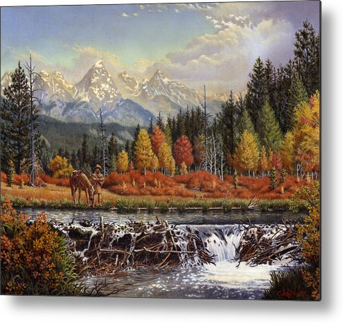 Western Mountain Landscape Metal Print featuring the painting Western Mountain Landscape Autumn Mountain Man Trapper Beaver Dam Frontier Americana Oil Painting by Walt Curlee