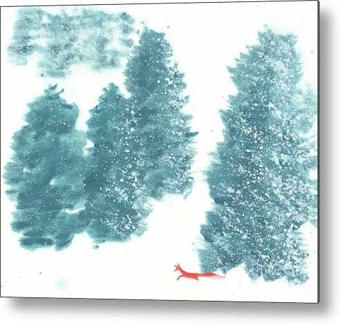 A Red Fox Wanders In A Snowy Forest. A Whisper Of The Great Silence Can Be Heard In The Winter Air. It's A Simple Contemporary Chinese Brush Painting On Rice Paper. Metal Print featuring the painting Whisper of the Forest II by Mui-Joo Wee