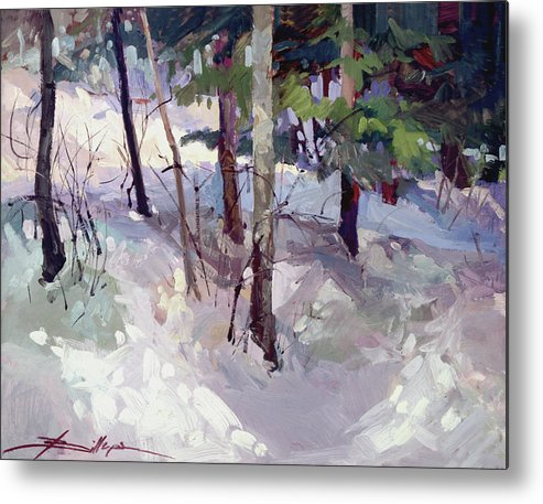 Landscape Metal Print featuring the painting Winter Garden Plein Air by Betty Jean Billups