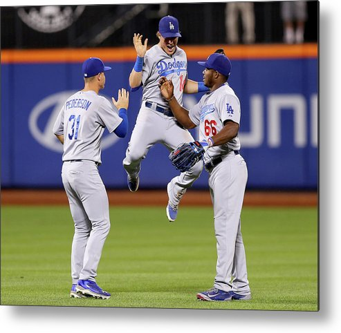 People Metal Print featuring the photograph Yasiel Puig and Joc Pederson by Elsa