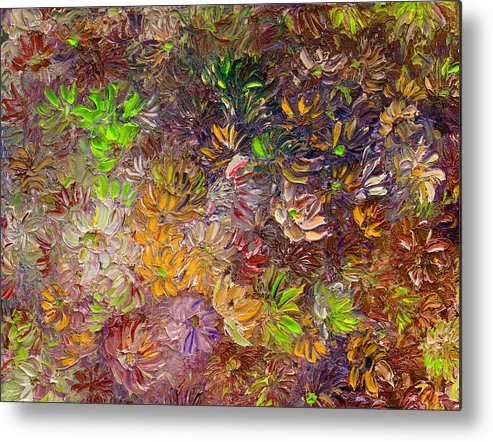 Green Abstract Metal Print featuring the painting My Pretty Green Pallet by Karin Dawn Kelshall- Best