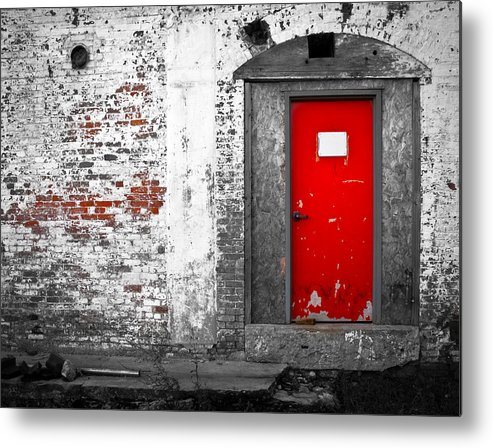 Huxley Metal Print featuring the photograph Red Door Perception by Bob Orsillo
