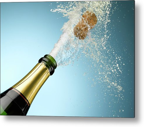 Celebration Metal Print featuring the photograph Champagne And Cork Exploding From Bottle by Andy Roberts