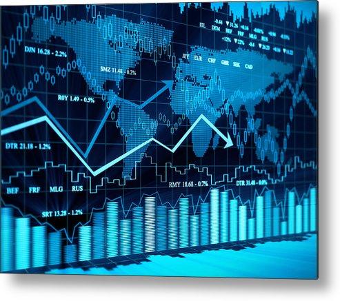 Financial Figures Metal Print featuring the photograph Financial charts by Vertigo3d